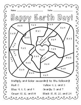 Earth Day: Multiply and Color Activity for Math Practice