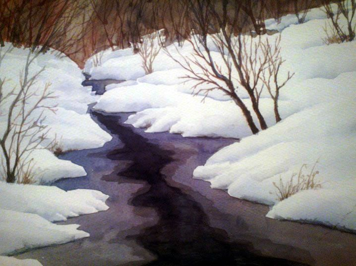 """Snowy Creek"" inspired by the work of Zoltan Szabo.   9 x 12 Watercolor on Fabriano Artistico 140 lb block."