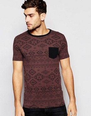 ASOS Muscle T-Shirt With All Over Aztec Print And Contrast Pocket