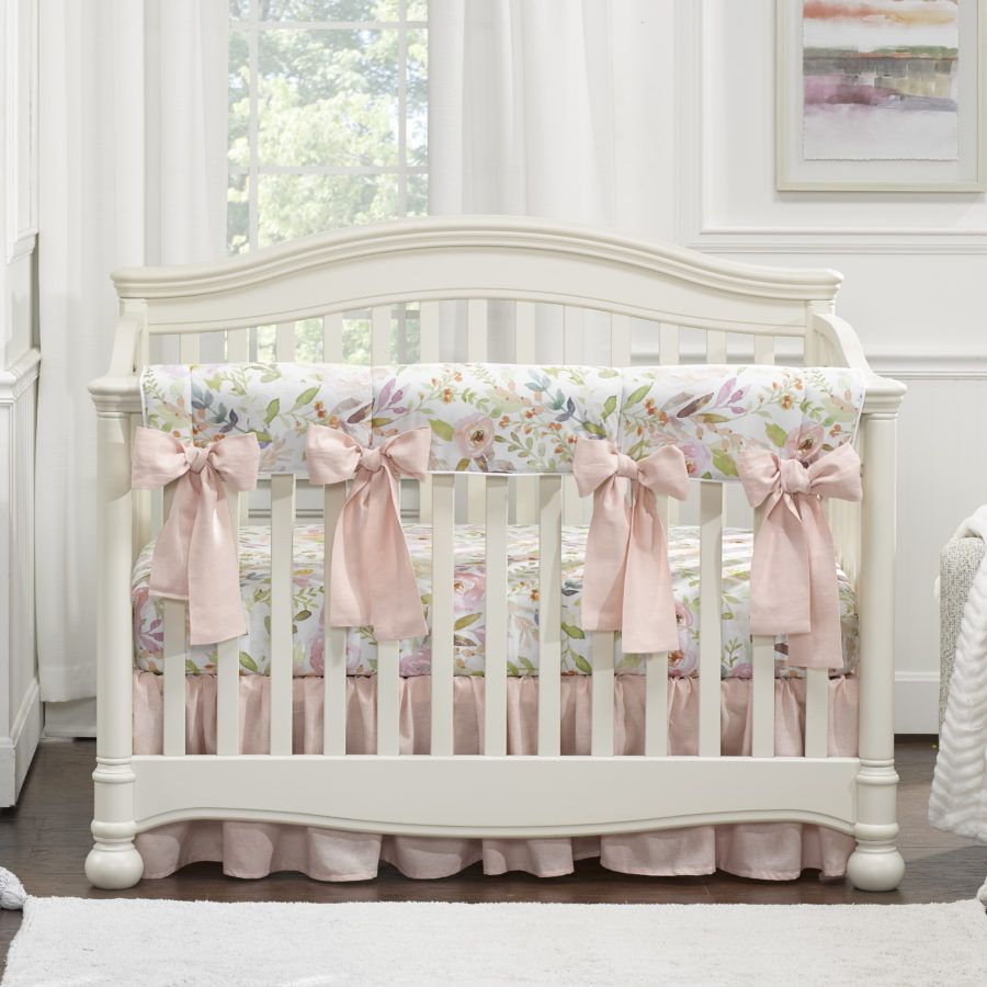 Blush Watercolor Floral Crib Rail Cover With 4 Pre Tied Oversized Bows Crib Bedding Girl Baby Girl Crib Bedding Girl Nursery Bedding