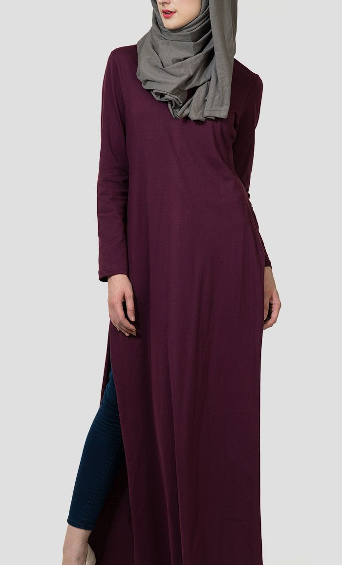 Basic Double Side Slit Long Jersey Abaya - Maroon