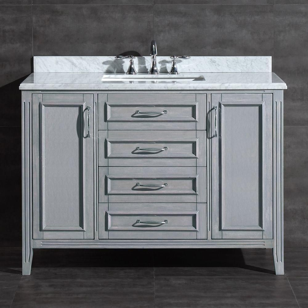 pegasus madison 48 in vanity in gray with marble vanity top in rh pinterest com