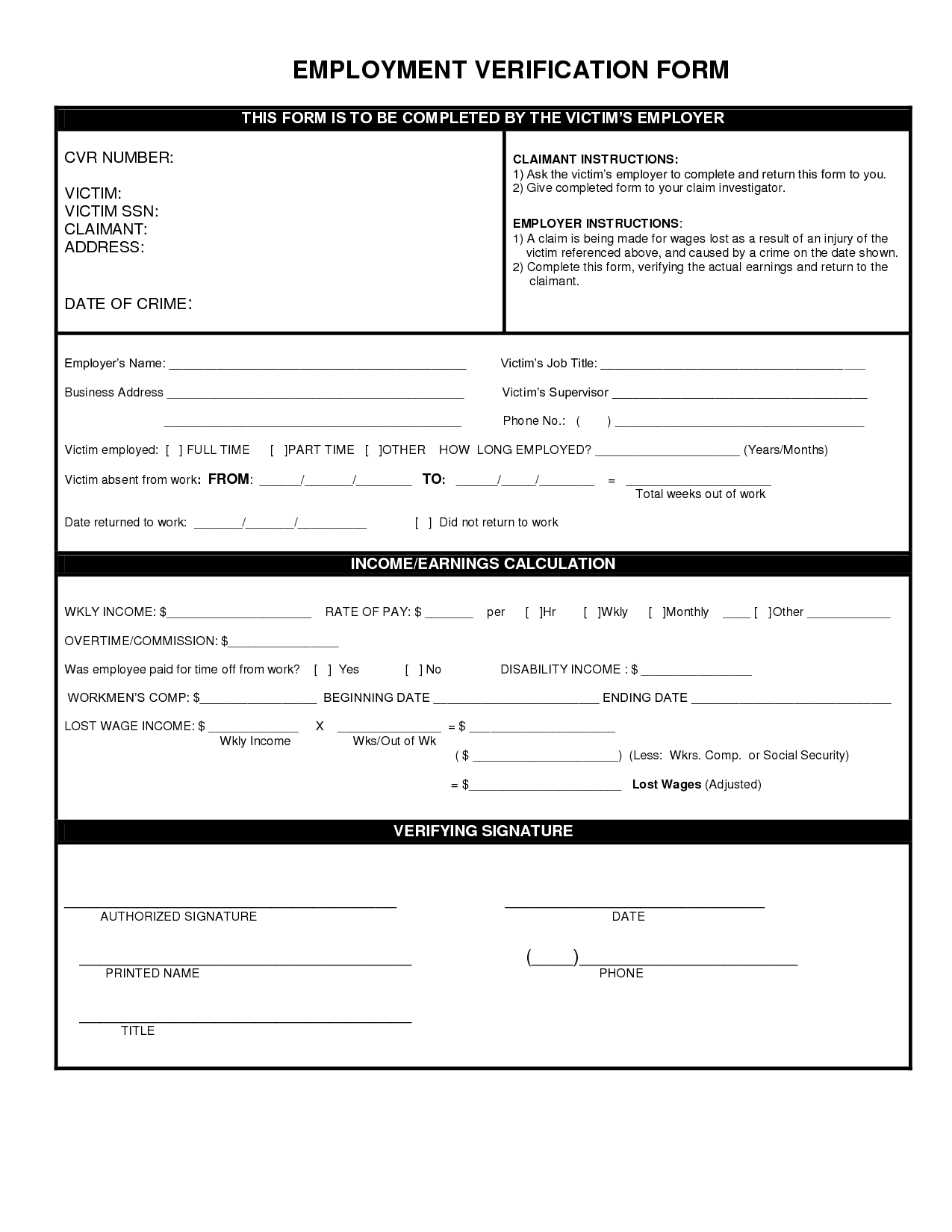 Verification Of Employment Form Template  Scope Of Work Template