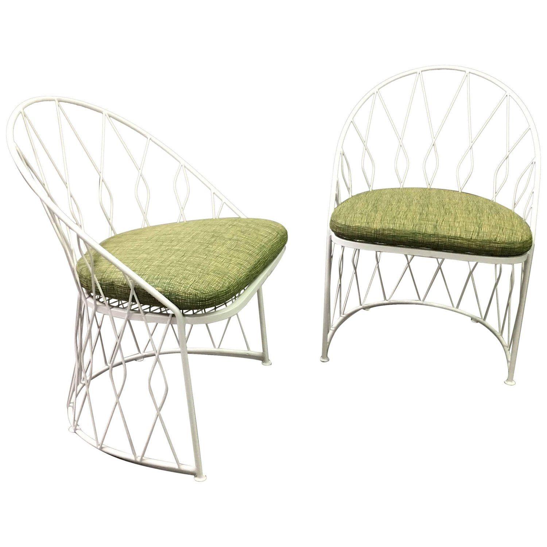 Pair Of Salterini Wrought Iron Outdoor Patio Garden Chairs