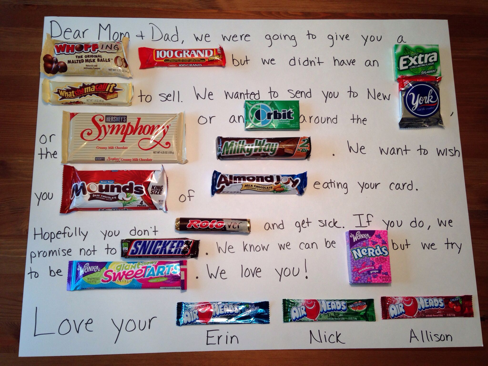 Candy Card Craft for my mom and