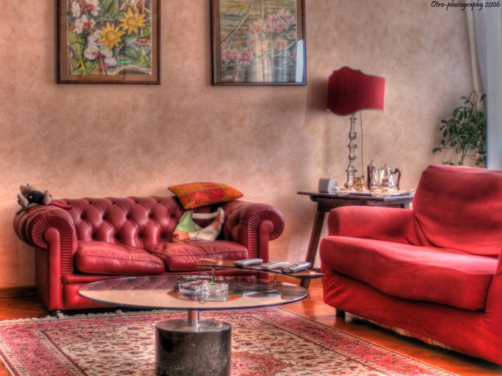 Great Art Decoration Beautiful Red Living room