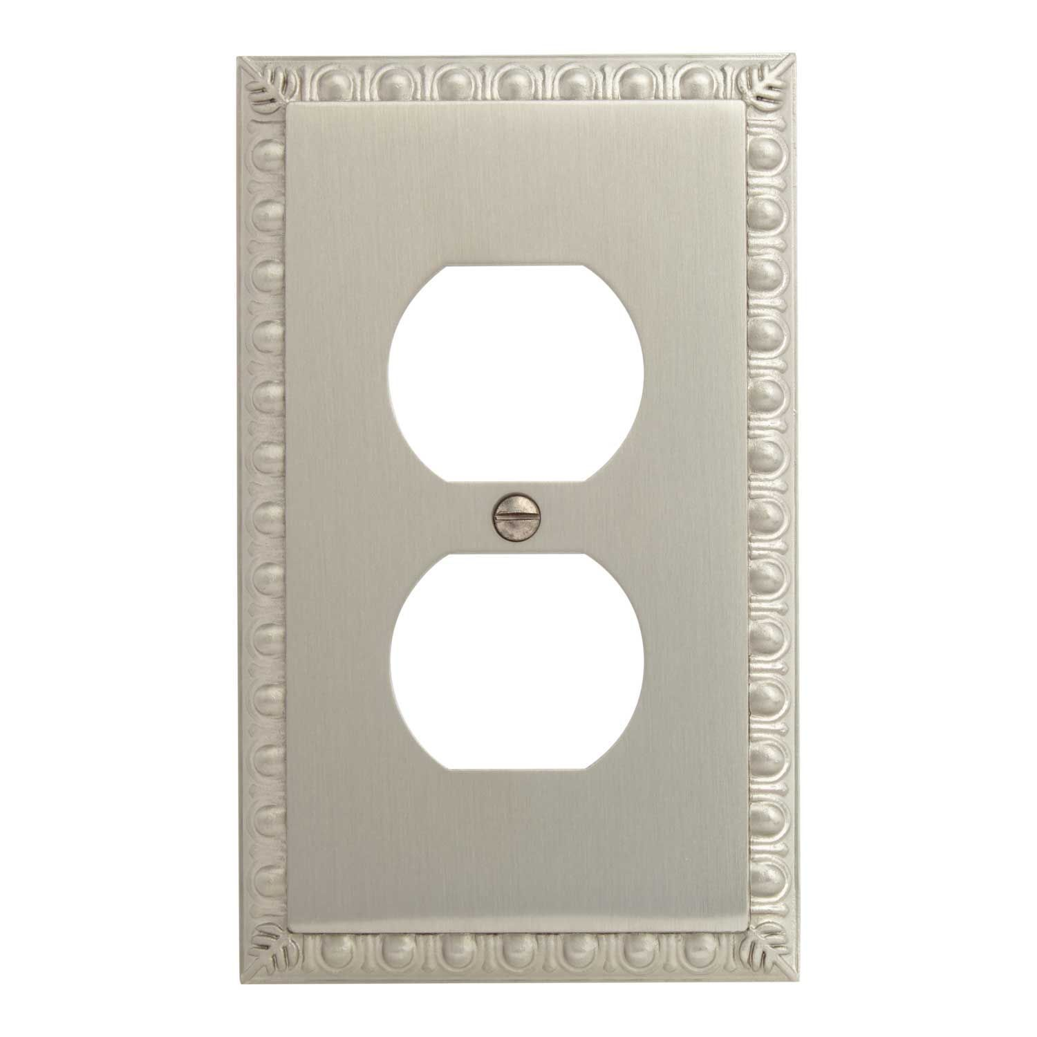 Egg And Dart Zinc Duplex Outlet Cover Darts Brushed Nickel And