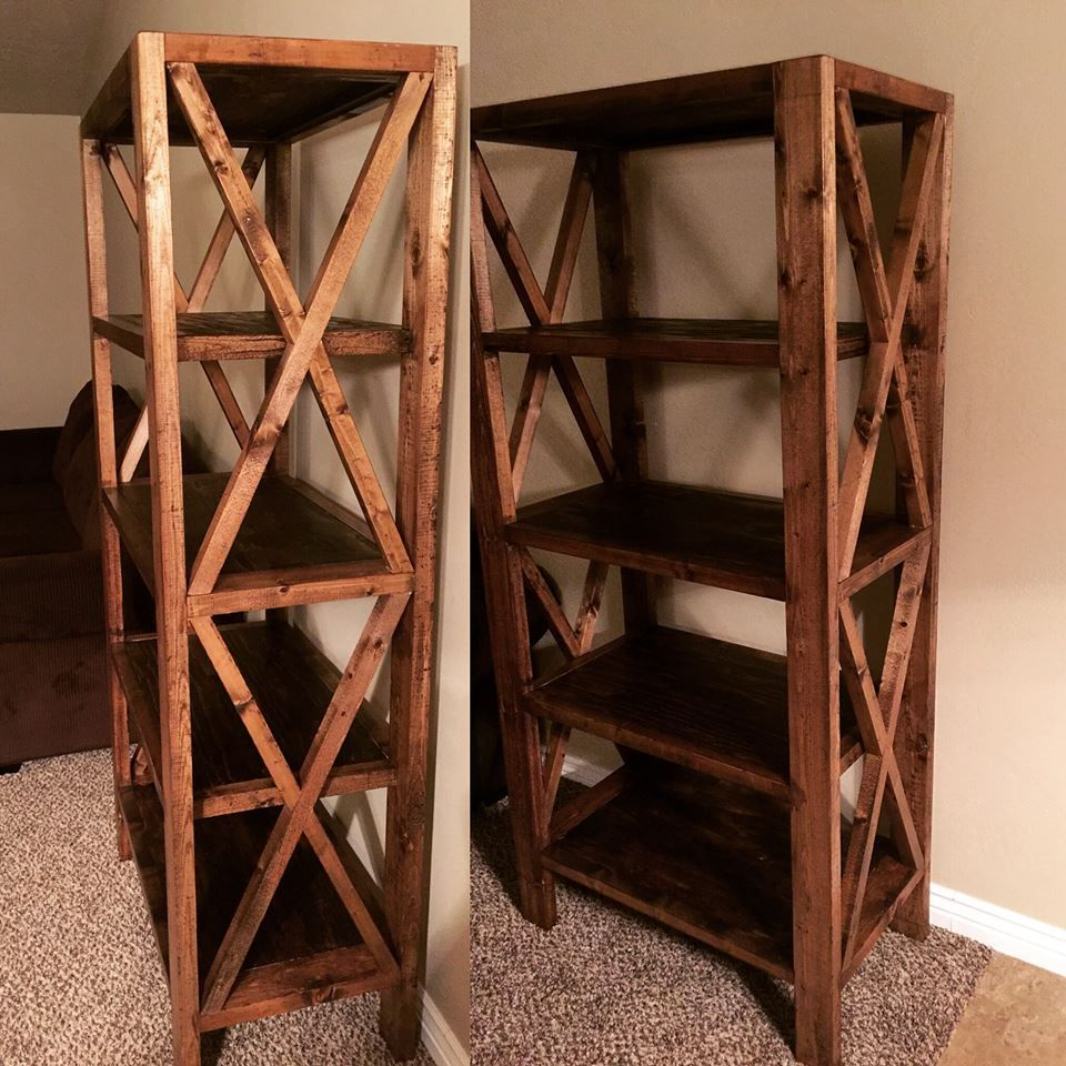 Rustic X Bookshelf In Minwax Dark Walnut Itsallaboutsandglue Justbuildingstuff Customwoodworking Sandglue