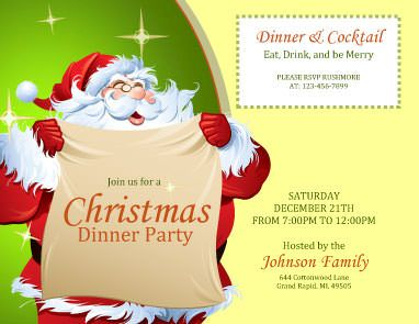 dinner and cocktail party free invitation template by hloomcom christmas invitation wording