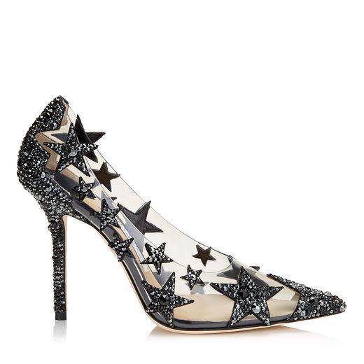 01d54813542e JIMMY CHOO LISHA 100 Black and Smoke Mix Plexi Star Patchwork Pointy Toe  Pumps with Crystals.  jimmychoo  shoes