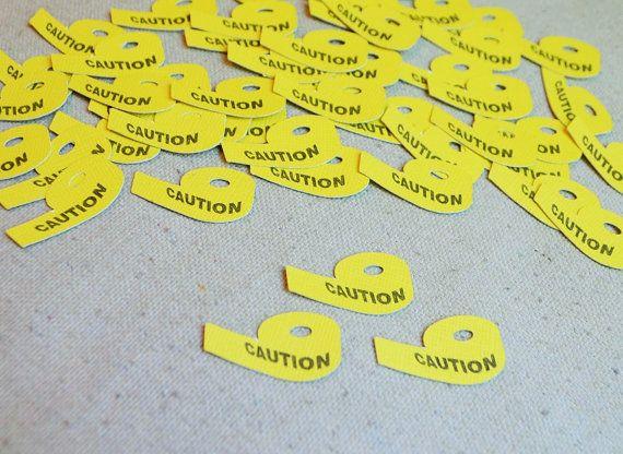 Caution Tape Confetti- Scrapbooking- Birthday- Table Decor- Pinata - confeti