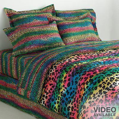 veratex rainbow leopard reversible comforter set awesomebeddingsets rh pinterest com