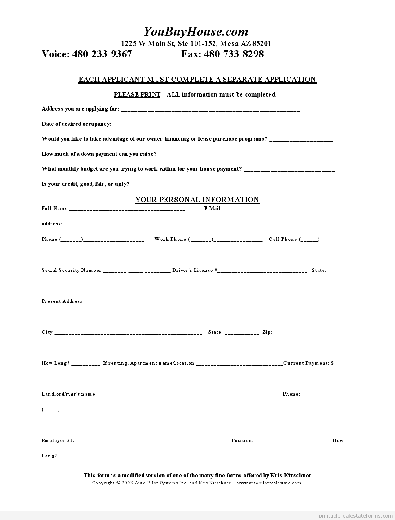simple credit application form
