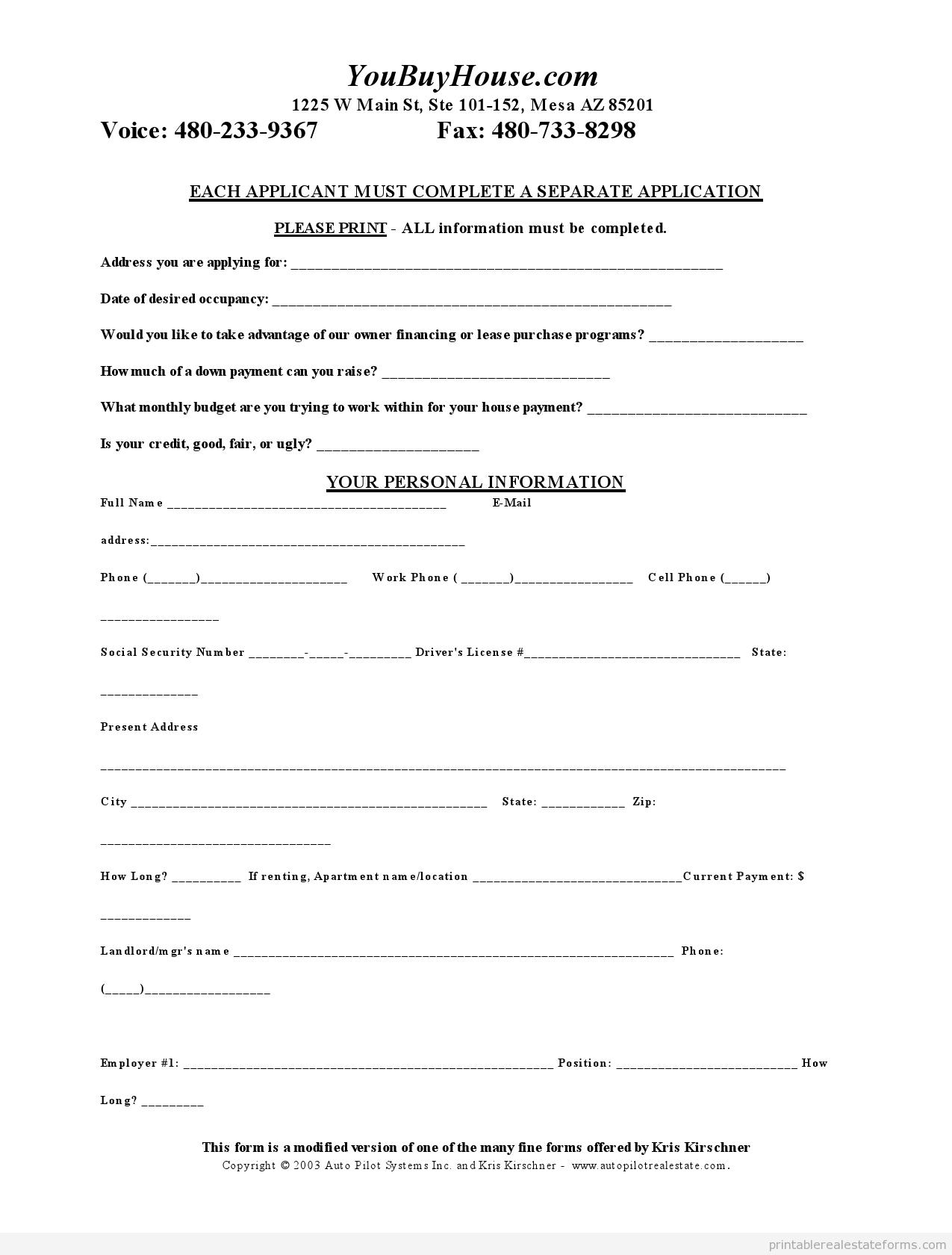 Sample Printable Short Credit Application Form