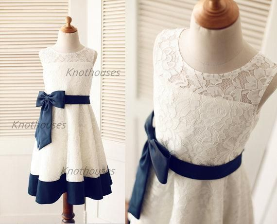 c84924baa Ivory lace Navy Blue Satin Stripe Flower Girl dress Junior ...