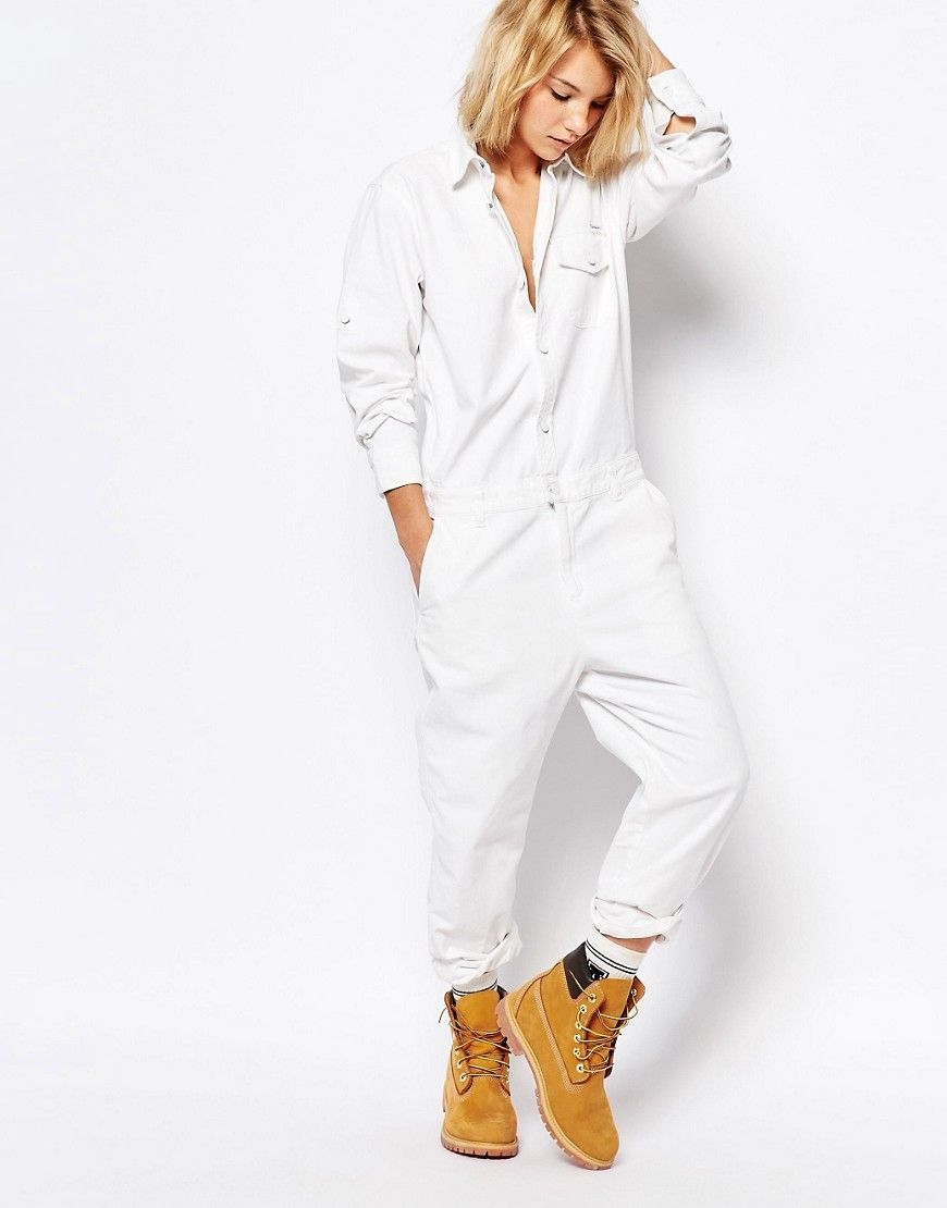 688d883f7c4 Carhartt WIP Boiler Suit In White Denim