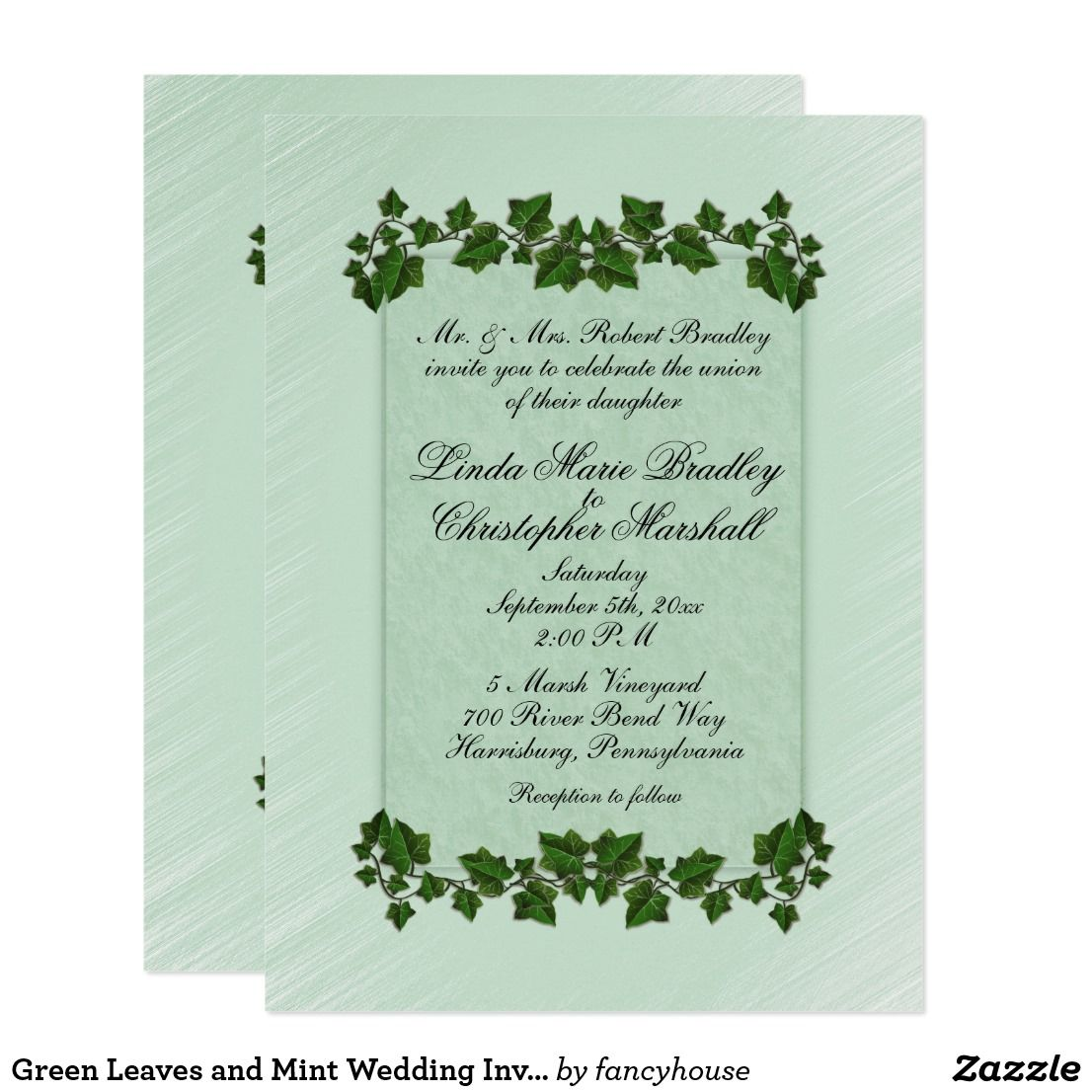 Green Leaves And Mint Wedding Invitation 5 5 X7 5 Card Wedding