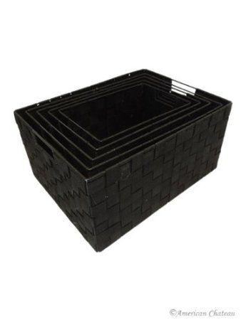 Set 5 Black Nesting Durable Woven Nylon Home Storage Basket Bins With Handles