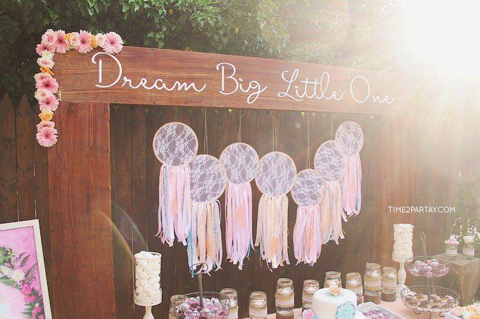 Dream Catcher Table Backdrop From A Dream Catcher Baby Shower Via Karau0027s  Party Ideas | KarasPartyIdeas
