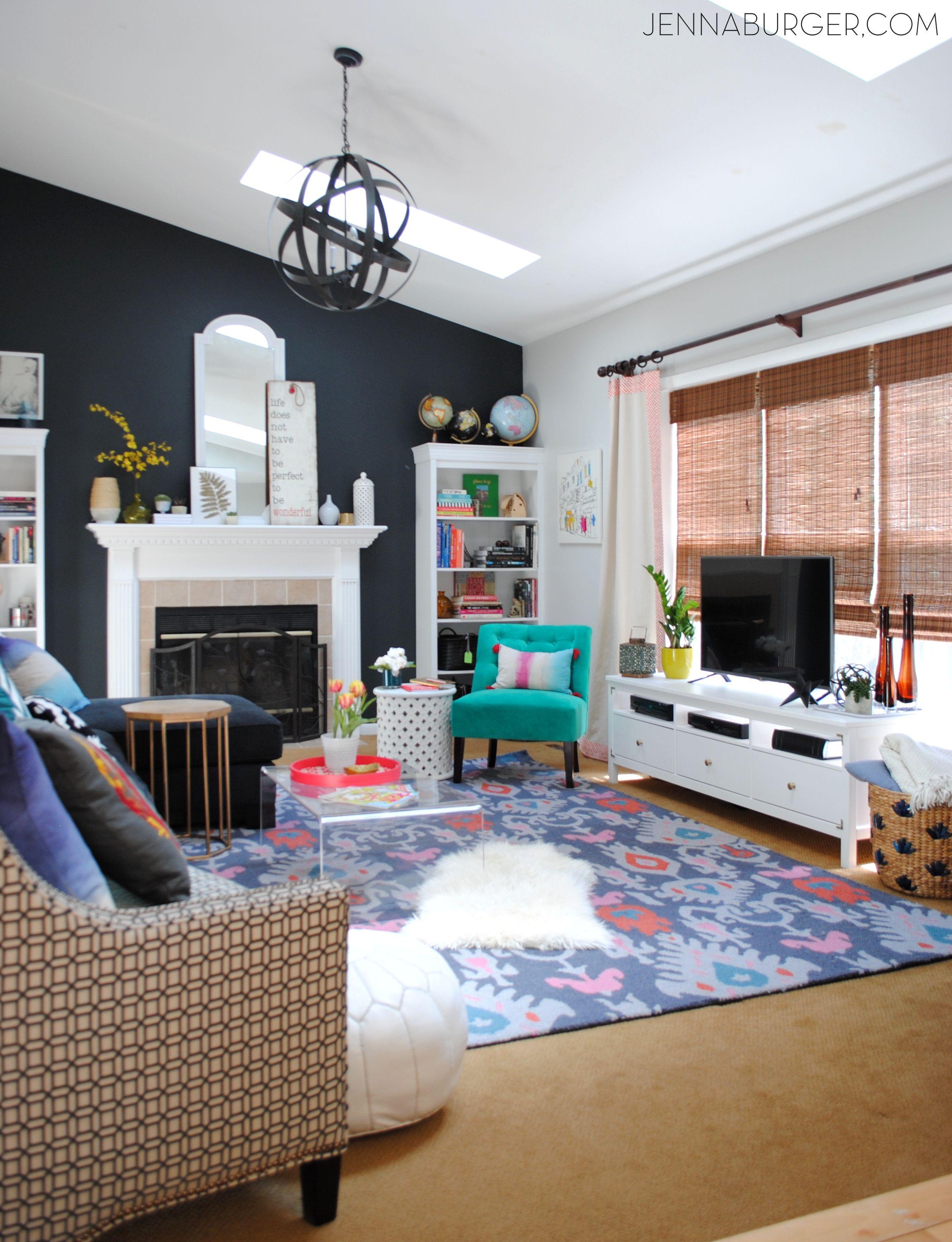 Living Room Makeover with bold black