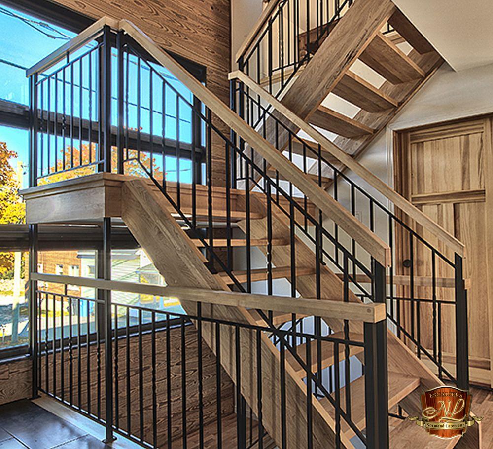 Escalier En Merisier Avec Limon Meunier Et Marches 1 5 8 D