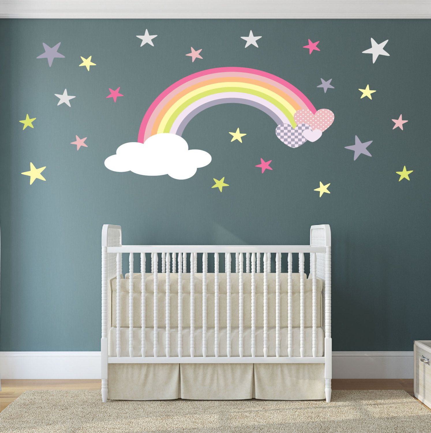 Magical Rainbow Hearts And Stars Nursery Wall Stickers Decal - Bedroom wall decals uk