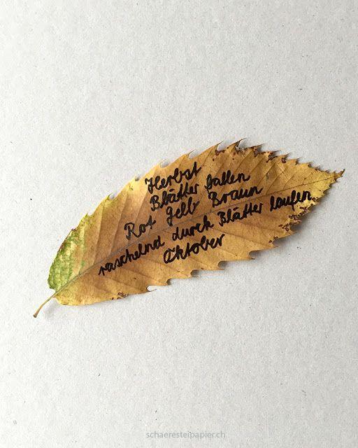 schaeresteipapier: Ein Elfchen auf Blätter geschrieben