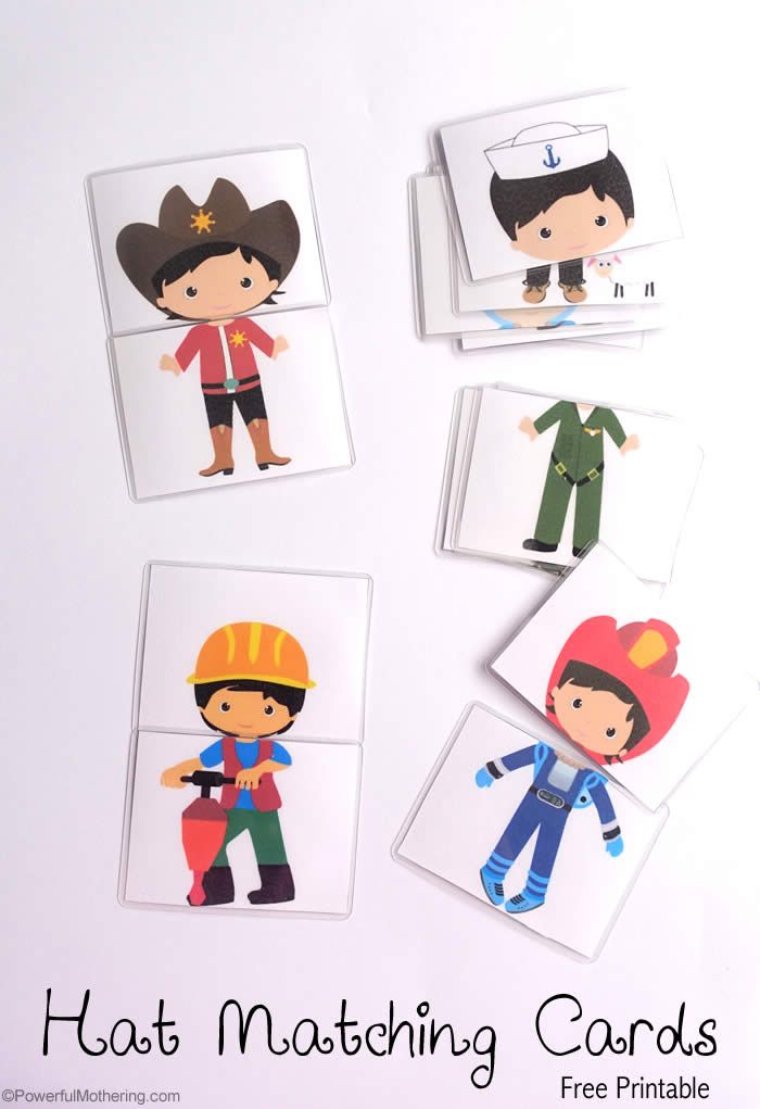 hat matching printable cards free printables community helpers rh pinterest com