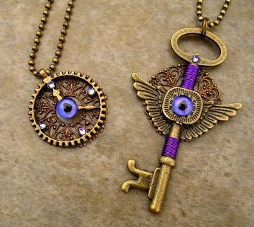 Gothic Steampunk - Evil Eye - Dragon - Pendant - Key Gears…