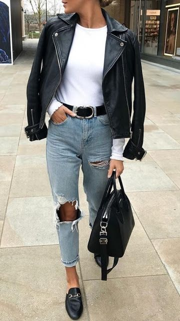 Casual Outfits Womens #leatherjacketoutfit