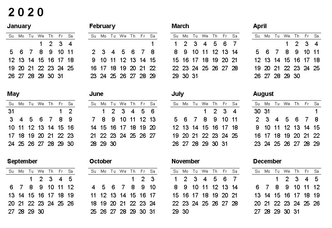 Printable 2020 12 Months Blank Calendar Printable Calendar Template Calendar Template Printable Calendar Design