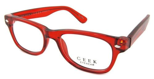 c42909e2389 Geek Eyewear Rad09 Nerd Vintage Retro Wayfarer Glasses Clear Red Crystal  Frame