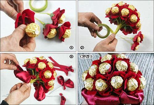 diy ferrero rocher chocolates bouquet ramo bombones einpacken pinterest geschenke. Black Bedroom Furniture Sets. Home Design Ideas