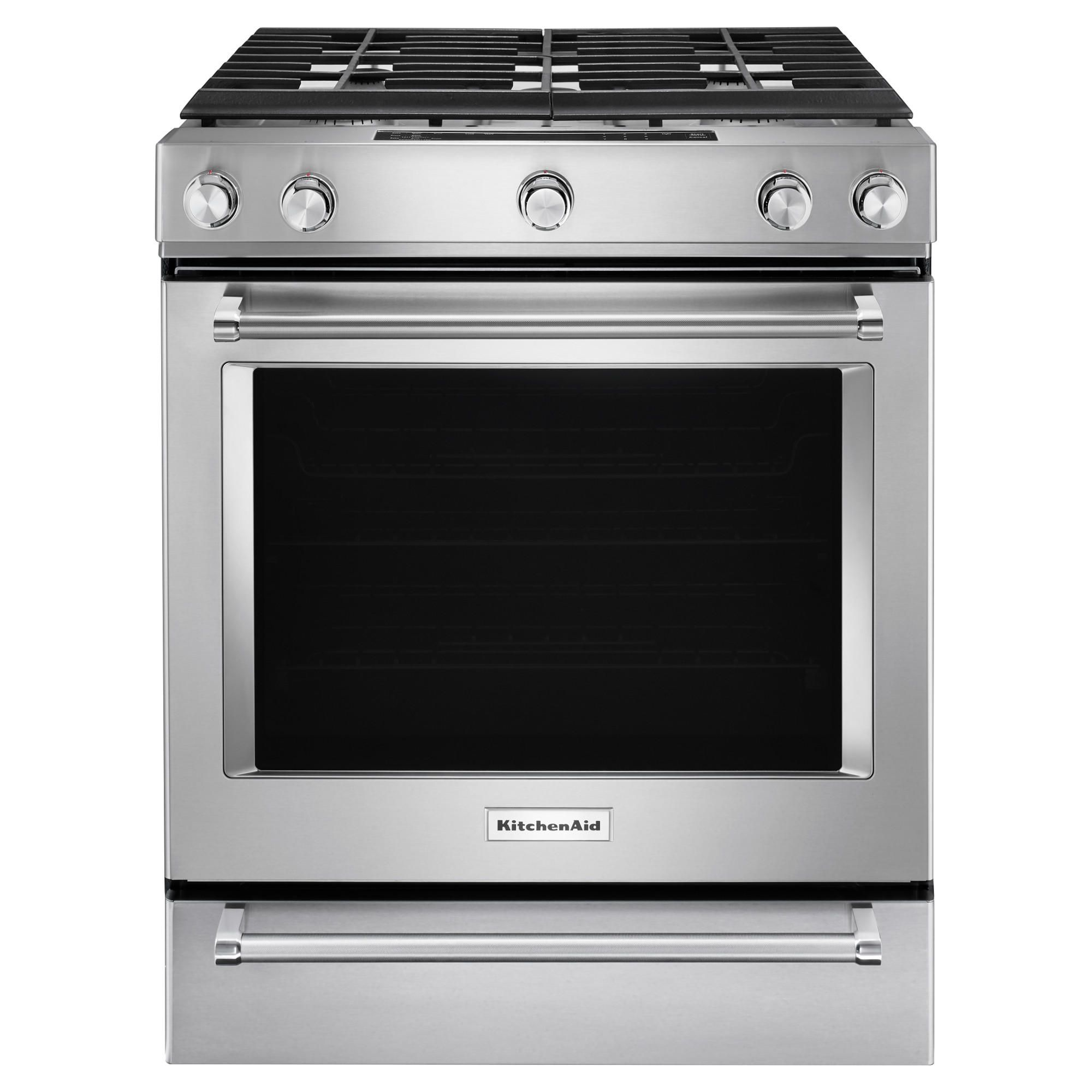 Kitchenaid 174 30 Inch 5 Burner Gas Convection Slide In Range