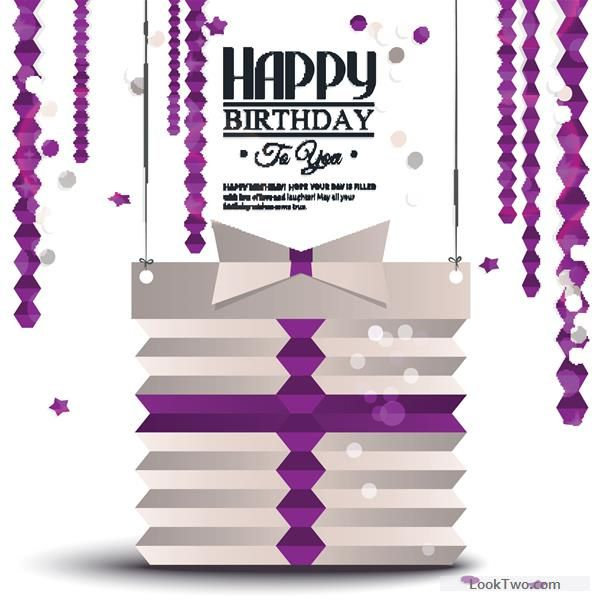 Free Purple origami birthday card vector vector download Free - birthday greetings download free