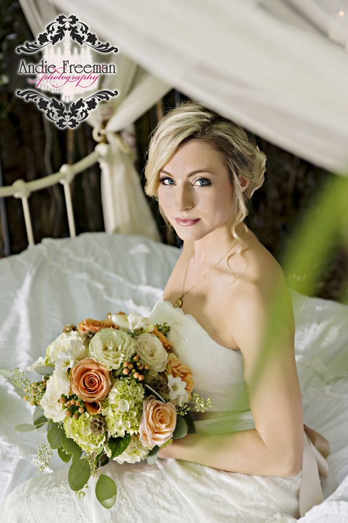 Bride Sitting On White Antique Iron Bed With Majesty