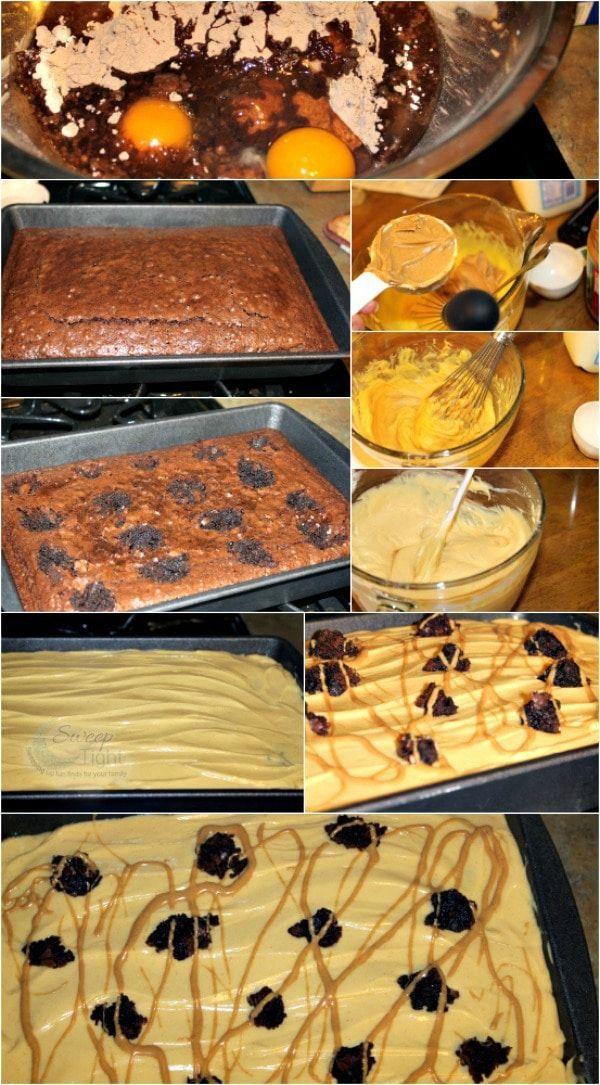 Peanut Butter Poke Cake Brownies #chocolatepeanutbutterpokecake