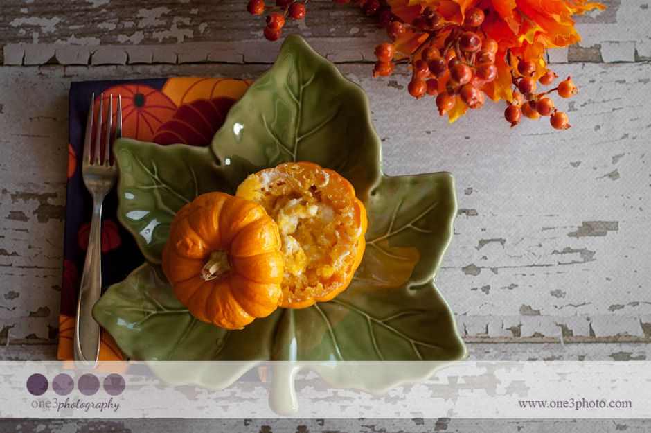 Ever wonder what to do with those cute little pumpkins? Stuff them with cheese and roast them! Asiago Roasted Pumpkins: 1/4 Cup Asiago, a few Tablespoons Half & Half, salt & pepper. Bake at 400 for about an hour and enjoy the taste of Fall!