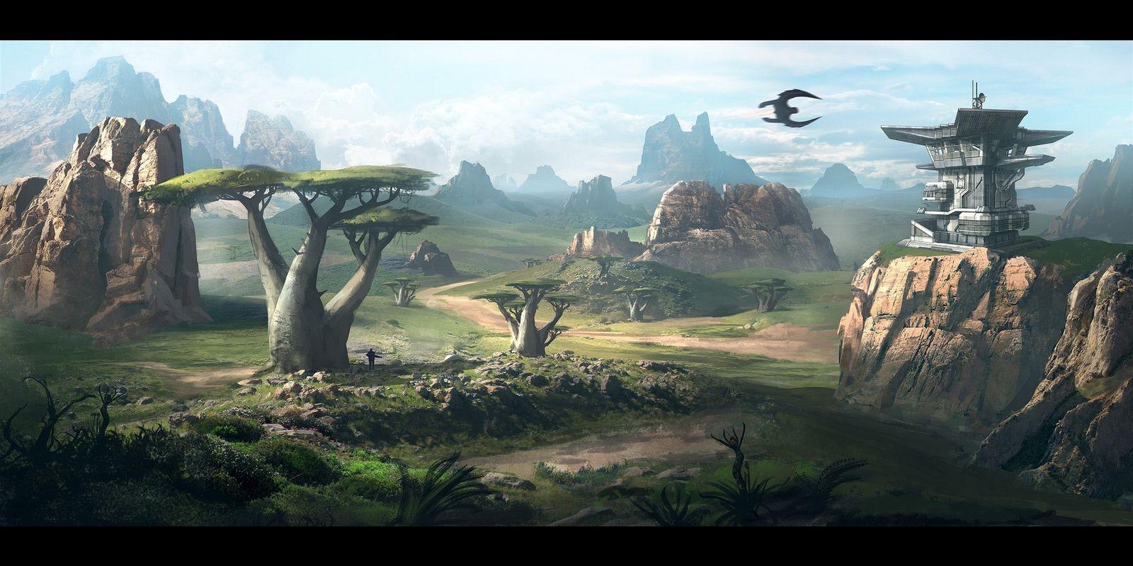 Sci Fi Fantasy Landscape Fantasy Landscape Wallpaper Background 1600 X 800 Id 319236 Concept Art World Fantasy Landscape Environment Concept Art