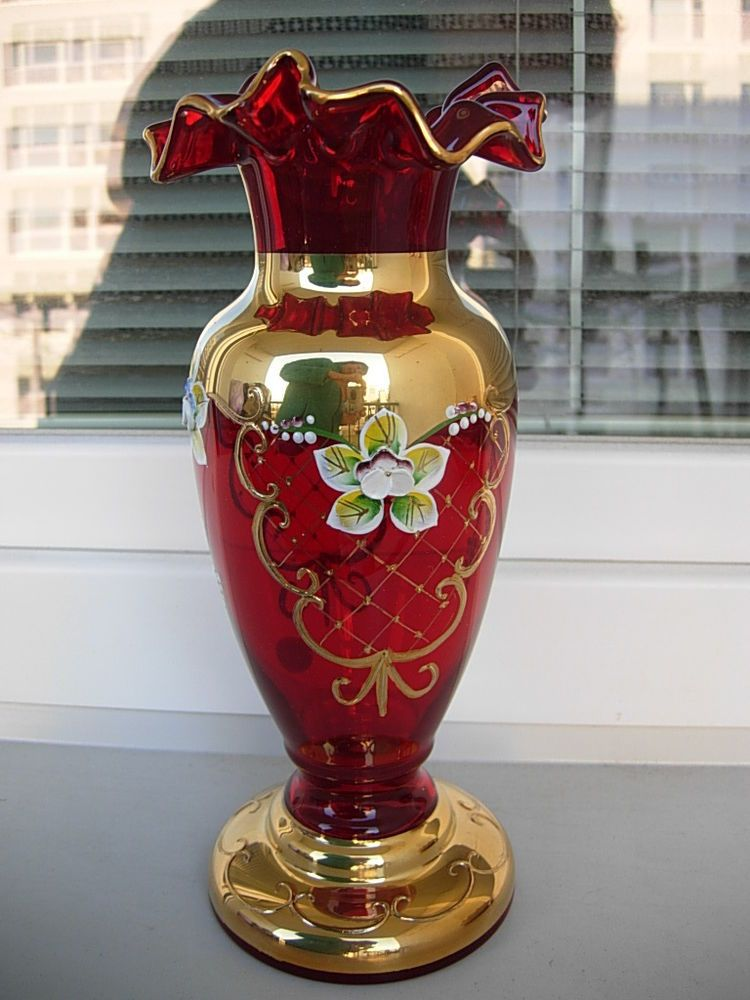STUNNING ENAMELED BOHEMIAN CZECH RUBY RED VASE