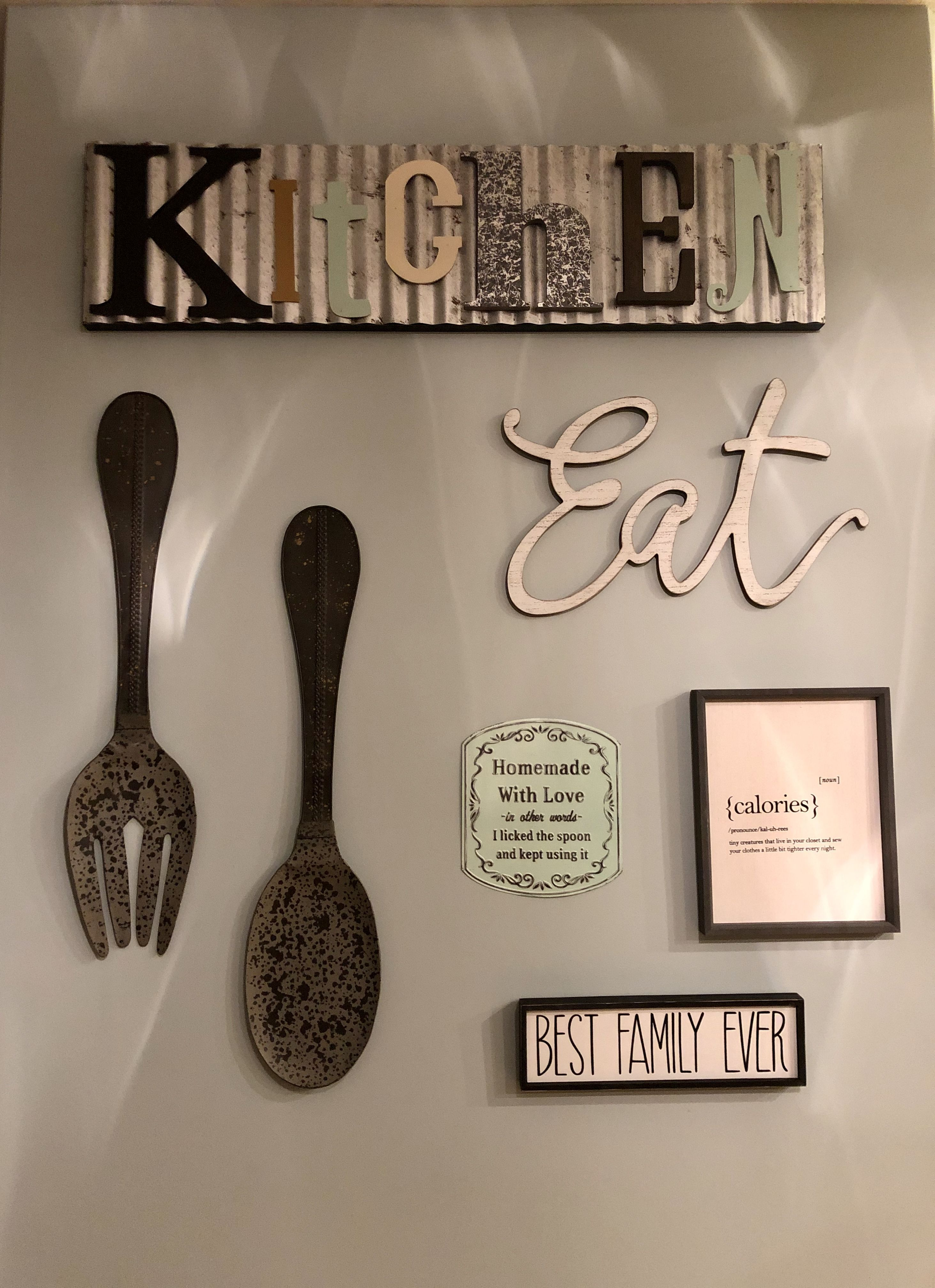 Kitchen Wall Decor Pottery Barn Fork And Spoon Mixed With Hobby Lobby Signs To Complete An Empty Hobby Lobby Wall Decor Kitchen Wall Decor Dining Wall Decor