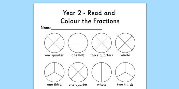 Year 2 Fractions Read And Colour Worksheet Fractions Worksheets Learning Fractions Fractions Free fractions worksheets year 2