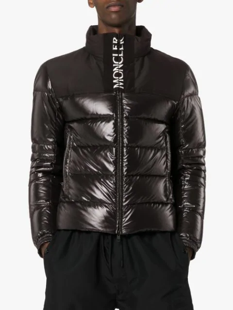 Moncler Bruel Logoembroidered Quilted Down Coat In Black