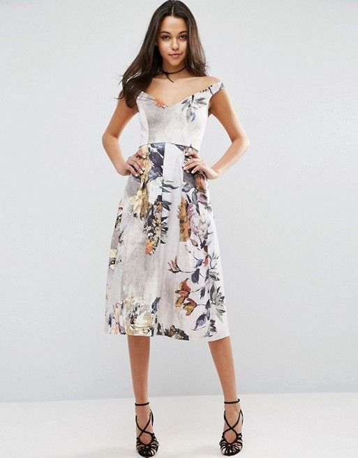 Off Shoulder Floral Midi Prom Dress   Jahiza s Uniform   Style     nice color palette with painted flowers  unconventional wedding dress