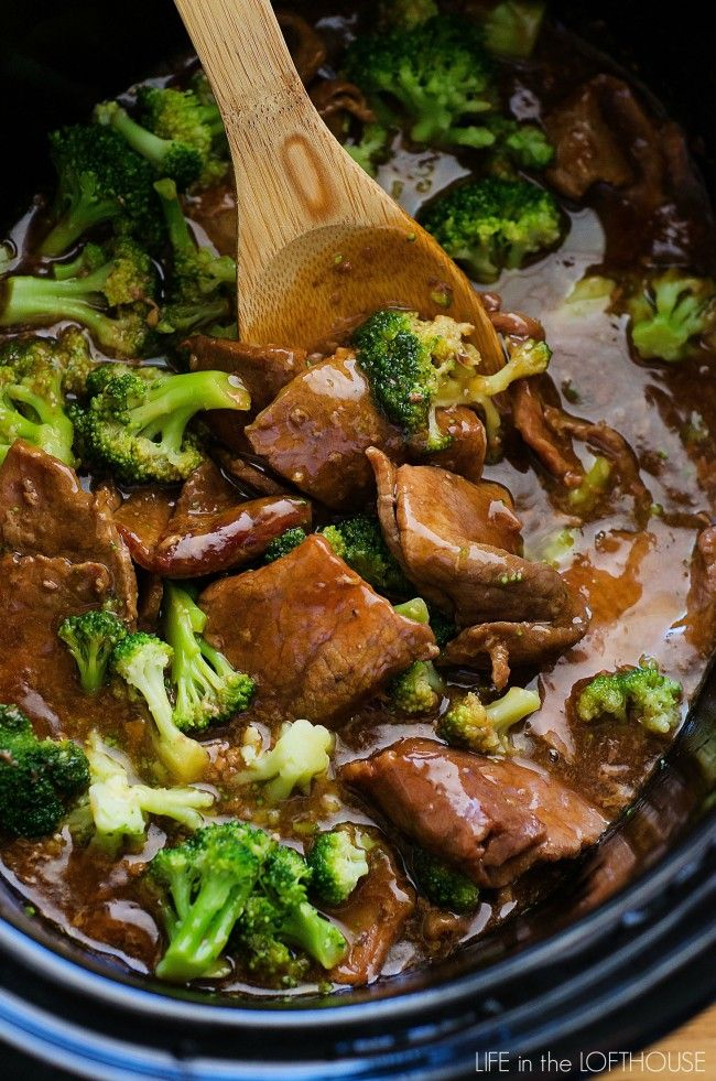 CROCK POT BEEF & BROCCOLI - 2 lbs sirloin steak or boneless beef chuck roast, 1 C beef broth, 1/2 C low sodium soy sauce, 1/4 C brown sugar, 1 T sesame oil, 3 garlic cloves, 4 T cornstarch, 4 T water, 1 (12 oz) bag frozen broccoli florets, White rice cooked