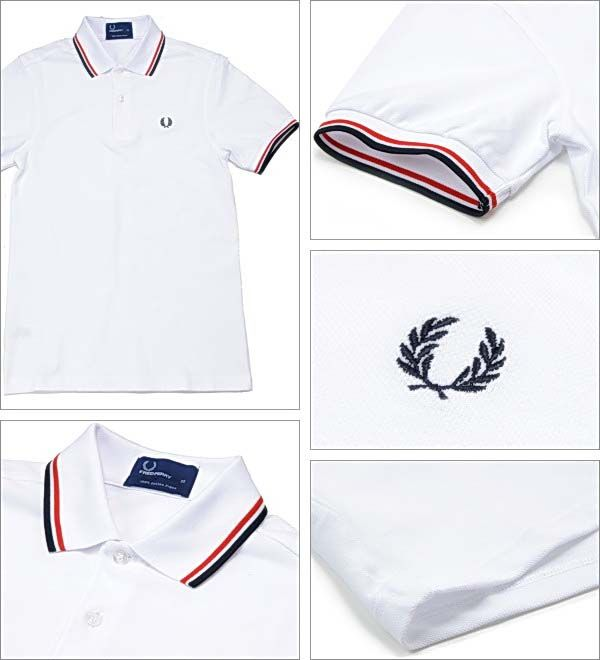 d609b59d9170 Fred Perry Classic Fit Twin Tipped Polo Shirt- WHITE/BRIGHT RED/NAVY ...