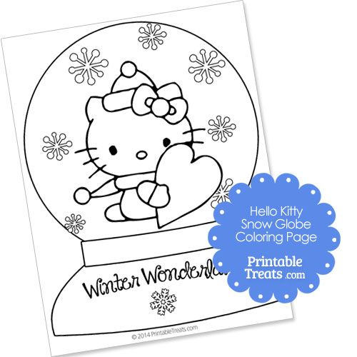 Hello Kitty Snow Globe Winter Coloring Page Hello Kitty Coloring Snow Globes Coloring Pages
