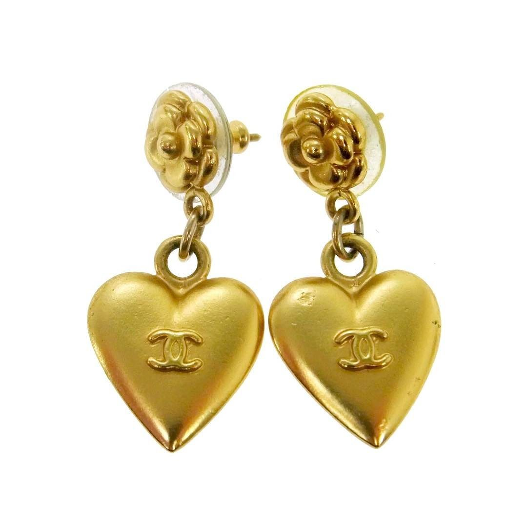 """Chanel heart charm dangle earings  pierced back  measures 1.4 x 6 """"  made in France  asking $270  comment for more information or to purchase this item"""