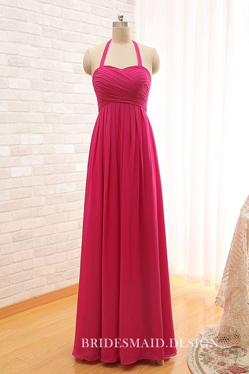 Modern hot pink chiffon halter strap floor length bridesmaid dress