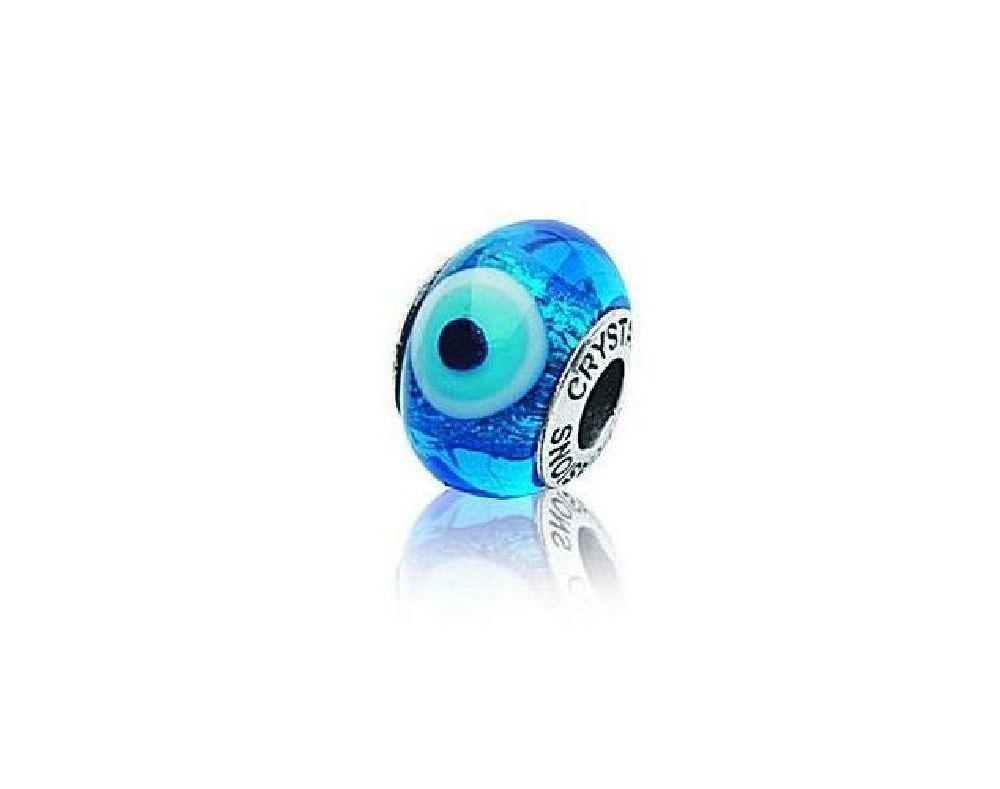 Sterling Silver Blue Eye Murano Glass Bead